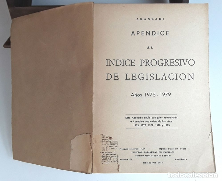 Libros de segunda mano: APÉNDICES AL ÍNDICE PROGRESIVO DE LEGISLACIÓN. 2 TOMOS. EDIT. ARANZADI. 1975/1980. - Foto 2 - 99941083