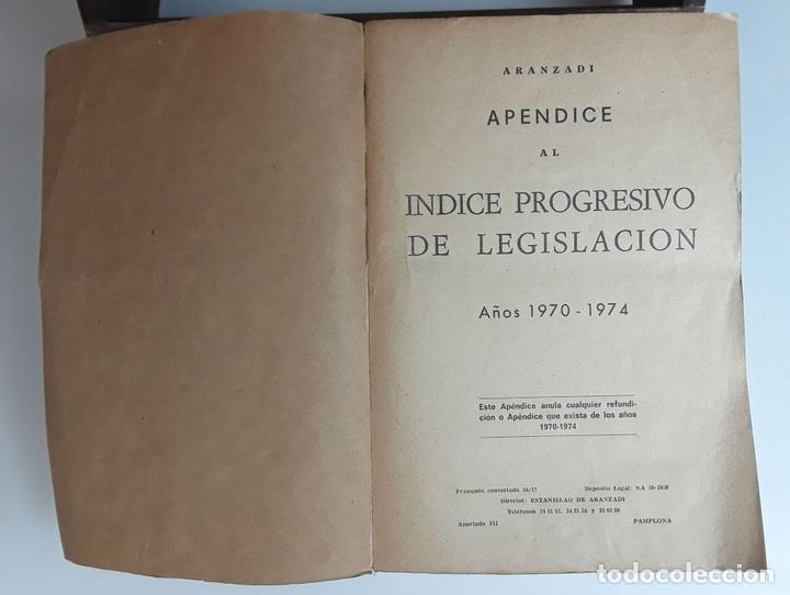 Libros de segunda mano: APÉNDICES AL ÍNDICE PROGRESIVO DE LEGISLACIÓN. 2 TOMOS. EDIT. ARANZADI. 1975/1980. - Foto 5 - 99941083