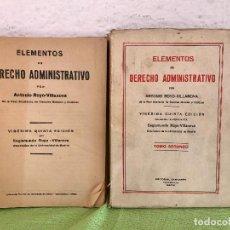 Libros de segunda mano: ELEMENTOS DE DERECHO ADMINISTRATIVO 1960 SEGISMUNDO Y ANTONIO ROYO VILLANOVA TOMOS 1Y 2. Lote 100441159