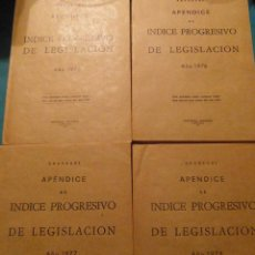 Libros de segunda mano: APENDICE AL INDICE PROGRESIVO DE LEGISLACION 1975, 1976, 1977, 1978. ARANZADI. PAMPLONA. Lote 102969515