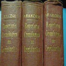 Libros de segunda mano: REPERTORIO CRONOLOGICO DE LEGISLACION. AÑO 1942. ARANZADI. 3 VOL. 1ª EDICION. PAMPLONA. Lote 103118475