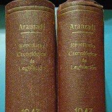 Libros de segunda mano: REPERTORIO CRONOLOGICO DE LEGISLACION. AÑO 1943. ARANZADI. 2 VOL. 1ª EDICION. PAMPLONA. Lote 103118795