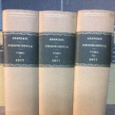 Libros de segunda mano: ARANZADI JURISPRUDENCIA 1977 TOMOS I. II. III PRIMERA EDICIÓN. Lote 103373267