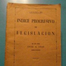 Libros de segunda mano: INDICE PROGRESIVO DE JURISPRUDENCIA. AÑOS 1930-1949. ARANZADI. Lote 104026979