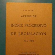Libros de segunda mano: APENDICE AL INDICE PROGRESIVO DE LEGISLACION. AÑOS 1980. ARANZADI. Lote 104029915