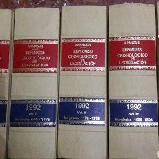 Libros de segunda mano: REPERTORIO CRONOLÓGICO DE LEGISLACIÓN ARANZADI COMPLETO 1992. Lote 105701462
