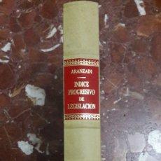 Libros de segunda mano: APÉNDICE AL ÍNDICE PROGRESIVO DE LEGISLACIÓN ARANZADI 1992. Lote 105701464