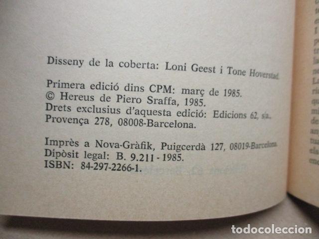 Libros de segunda mano: Producció de mercaderies per mitjà de mercaderies Piero Sraffa Ed 62 Clàssics del pensament modern - Foto 6 - 263100240