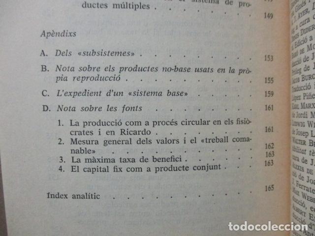 Libros de segunda mano: Producció de mercaderies per mitjà de mercaderies Piero Sraffa Ed 62 Clàssics del pensament modern - Foto 18 - 263100240