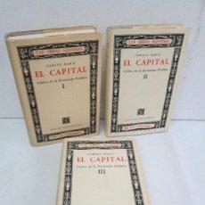 Libros de segunda mano: CARLOS MARX. EL CAPITAL CRITICA DE LA ECONOMIA POLITICA I-II-III. FONDO DE CULTURA ECONOMICA.. Lote 111586235