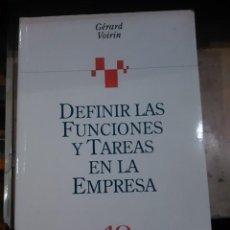 Libros de segunda mano: DEFINIR FUNCIONES Y TAREAS EN LA EMPRESA (BARCELONA, 1998). Lote 113609167