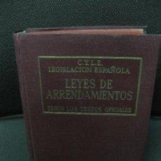 Libros de segunda mano: LEGISLACION ESPAÑOLA. LEYES DE ARRENDAMIENTOS SEGUN LOS TEXTOS OFICIALES. GREGORIO PECES-BARBA. 1947. Lote 115003371