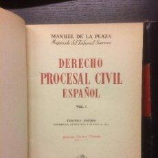 Libros de segunda mano: DERECHO PROCESAL CIVIL ESPAÑOL, MANUEL DE LA PLAZA, 1951. Lote 115725947