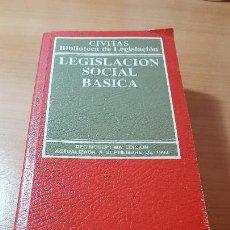 Libros de segunda mano: LEGISLACION SOCIAL BÁSICA, EDITORIAL CIVITAS, SEPTIEMBRE 1998. Lote 116348787