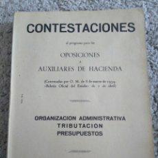 Libros de segunda mano: CONTESTACIONES OPOSICIONES A AUXILIARES DE HACIENDA. MADRID 1954. Lote 118638620