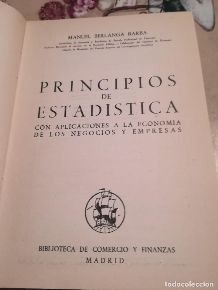 Libros de segunda mano: Principios de estadística - Manuel Berlanga Barba - 2ª edición 1949 - Foto 3 - 126880383