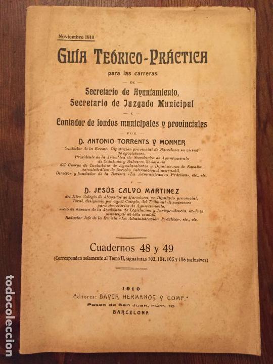ANTIGUO LIBRO GUÍA TEÓRICO PRÁCTICA PARA SECRETARIO DE AYUNTAMIENTO, SECRETARIO DE JUZGADO MUNICIPAL (Libros de Segunda Mano - Ciencias, Manuales y Oficios - Derecho, Economía y Comercio)