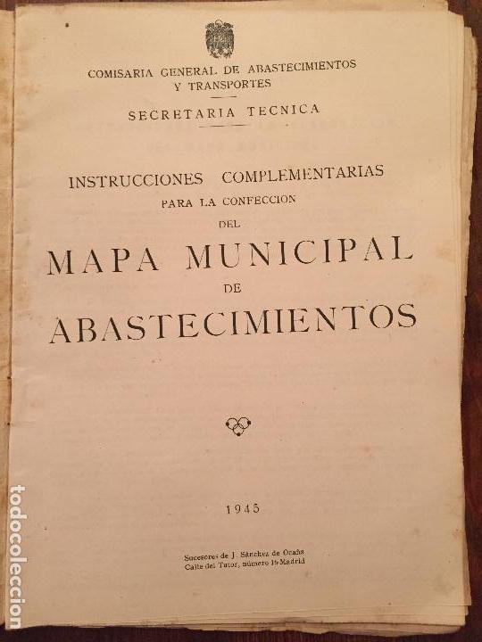 Libros de segunda mano: Antiguas instrucciones complementarias para la confeccion de mapa municipal de abastecimiento año 45 - Foto 2 - 128874271