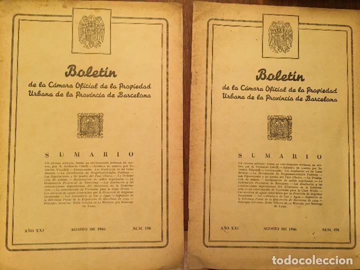 ANTIGUOS 2 BOLETÍN DE LA CÁMARA OFICIAL DE LA PROPIEDAD URBANA DE LA PROVÍNCIA DE BARCELONA AÑO 1946 (Libros de Segunda Mano - Ciencias, Manuales y Oficios - Derecho, Economía y Comercio)