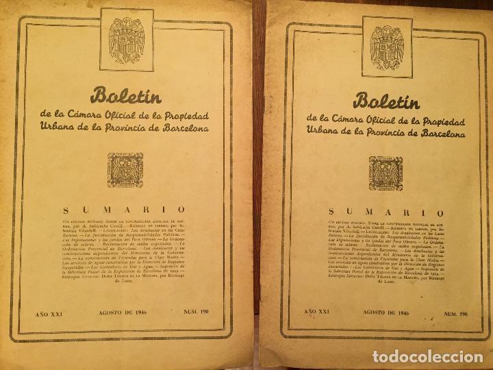 Libros de segunda mano: Antiguos 2 boletín de la Cámara oficial de la propiedad Urbana de la Província de Barcelona año 1946 - Foto 2 - 128886559