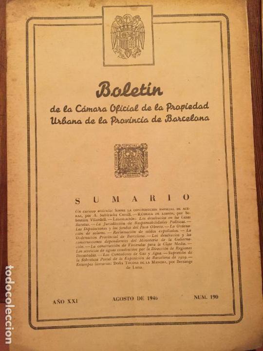 Libros de segunda mano: Antiguos 2 boletín de la Cámara oficial de la propiedad Urbana de la Província de Barcelona año 1946 - Foto 3 - 128886559