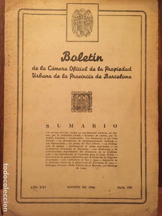 Libros de segunda mano: Antiguos 2 boletín de la Cámara oficial de la propiedad Urbana de la Província de Barcelona año 1946 - Foto 4 - 128886559