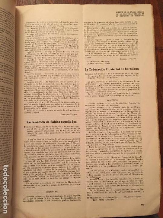 Libros de segunda mano: Antiguos 2 boletín de la Cámara oficial de la propiedad Urbana de la Província de Barcelona año 1946 - Foto 6 - 128886559