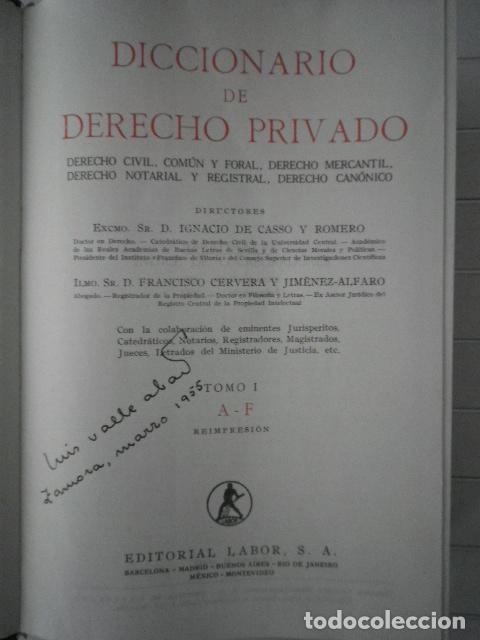 Libros de segunda mano: Diccionario de Derecho Privado. 2 tomos - Editorial Labor - Foto 3 - 132440178