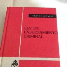 Libros de segunda mano: LEY DE ENJUICIAMIENTO CRIMINAL EDICIÓN OFICIAL TEXTOS LEGALES N. 40 QUINTA ED. 1975 BOE. Lote 134007997