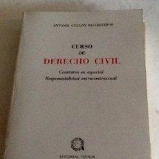 Libros de segunda mano: CURSO DE DERECHO CIVIL ANTONIO GULLÓN BALLESTEROS TECNOS 1972 508 PGS. Lote 134259222
