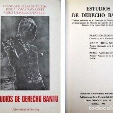 Libros de segunda mano: ESTUDIOS DE DERECHO BANTU. TRABAJOS REALIZADOS EN EL SEMINARIO DE DERECHO AFRICANO. 1974.. Lote 134367590