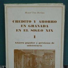 Libros de segunda mano: CRÉDITO Y AHORRO EN GRANADA EN EL SIGLO XIX, 1. AHORRO POPULAR Y PRÉSTAMO DE SUBSISTENCIA. Lote 135087954