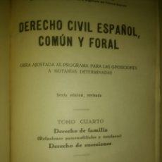 Libros de segunda mano - DERECHO CIVIL ESPAÑOL,. COMÚN Y FORAL. TOMO CUARTO. JOSÉ CASTÁN TOBEÑAS. INSTITUTO EDITORIAL REUS. S - 135120870
