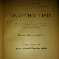 Libros de segunda mano - DERECHO CIVIL ESPAÑOL,. COMÚN Y FORAL. TOMO PRIMERO. JOSÉ CASTÁN TOBEÑAS. INSTITUTO EDITORIAL REUS. - 135191537