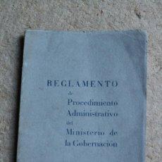 Libros de segunda mano - Reglamento de Procedimiento Administrativo del Ministerio de Gobernación. - 135482506