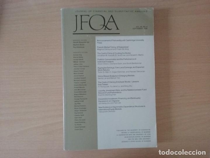 JFQA. JOURNAL OF FINANCIAL AND QUANTITATIVE ANALYSIS VOL.43, NO.3 SETEMBER 2008 (Libros de Segunda Mano - Ciencias, Manuales y Oficios - Derecho, Economía y Comercio)