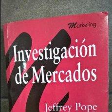 Libros de segunda mano: INVESTIGACION DE MERCADOS. JEFFREY POPE. PARRAMON 1994. MARKETING. . Lote 137431646