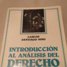 Libros de segunda mano: INTRODUCCIÓN AL ANÁLISIS DEL DERECHO. CARLOS S. NINO 1987. Lote 138827730
