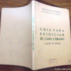 Libros de segunda mano: GUIA PARA ENJUICIAR EL CASO CUBANO LEOPOLDO PIO ELIZALDE PUBLICACIONES DE DEFENSA INSTITUCIONAL. Lote 140802986