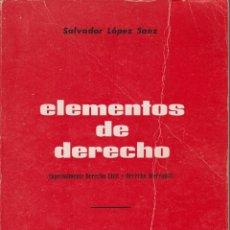 Libros de segunda mano: ELEMENTOS DE DERECHO ESPECIALMENTE DERECHO CIVIL Y DERECHO MERCANTIL. Lote 144785786