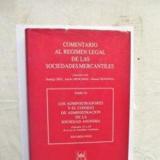 Libros de segunda mano: COMENTARIO AL REGIMEN LEGAL DE LAS SOCIEDADES MERCANTILES TOMO VI. Lote 145908378