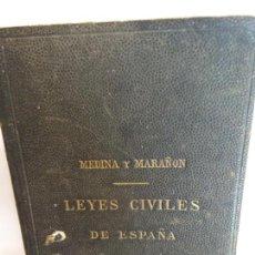 Libros de segunda mano: BJS.MEDINA Y MARAÑON.LEYES CIVILES DE ESPAÑA.EDT, MADRID... Lote 146250006