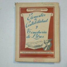 Libros de segunda mano: ELEMENTOS DE CONTABILIDAD Y TENEDURIA DE LIBROS. JOAQUIN CUARTERO MARTIN. 1963. TDK359. Lote 147501178