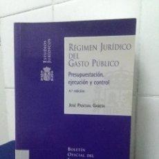 Libros de segunda mano: REGIMEN JURÍDICO DEL GASTO PUBLICO – PRESUPUESTACIÓN EJECUCIÓN Y CONTROL, JOSÉ PASCUAL GARCÍA. Lote 147787522