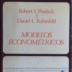 Libros de segunda mano: MODELOS ECONOMÉTRICOS - ROBERT S. PINDYCK / DANIEL L. RUBINFELD. Lote 148811648