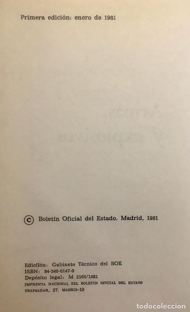 Libros de segunda mano: Textos legales: Armas y explosivos. Editado por Boletín Oficial del Estado. año 1981. BE - Foto 2 - 149965090