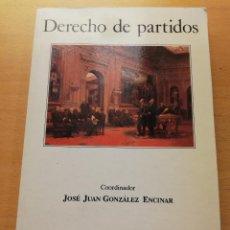 Libros de segunda mano: DERECHO DE PARTIDOS (JOSÉ JUAN GONZÁLEZ ENCINAR) ESPASA UNIVERSIDAD. Lote 150582914