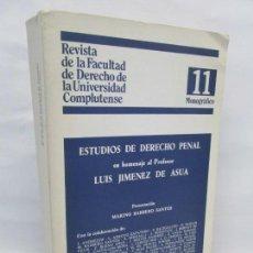 Libros de segunda mano: ESTUDIOS DE DERECHO PENAL EN HOMENAJE AL PROFESOR LUIS JIMENEZ DE ASUA. 1958. Lote 151975718