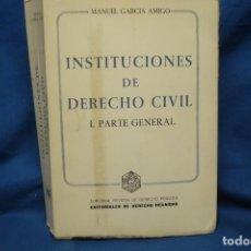 Libros de segunda mano: INSTITUCIONES DE DERECHO CIVIL - MANUEL GARCIA AMIGO - EDITORIALES DE DERECHO 1979. Lote 152831734