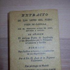 Libros de segunda mano: EXTRACTO DE LAS LEYES DEL FUERO VIEJO DE CASTILLA - EDICION FACSIMIL. EDITORIAL MAXTOR.. Lote 154840790